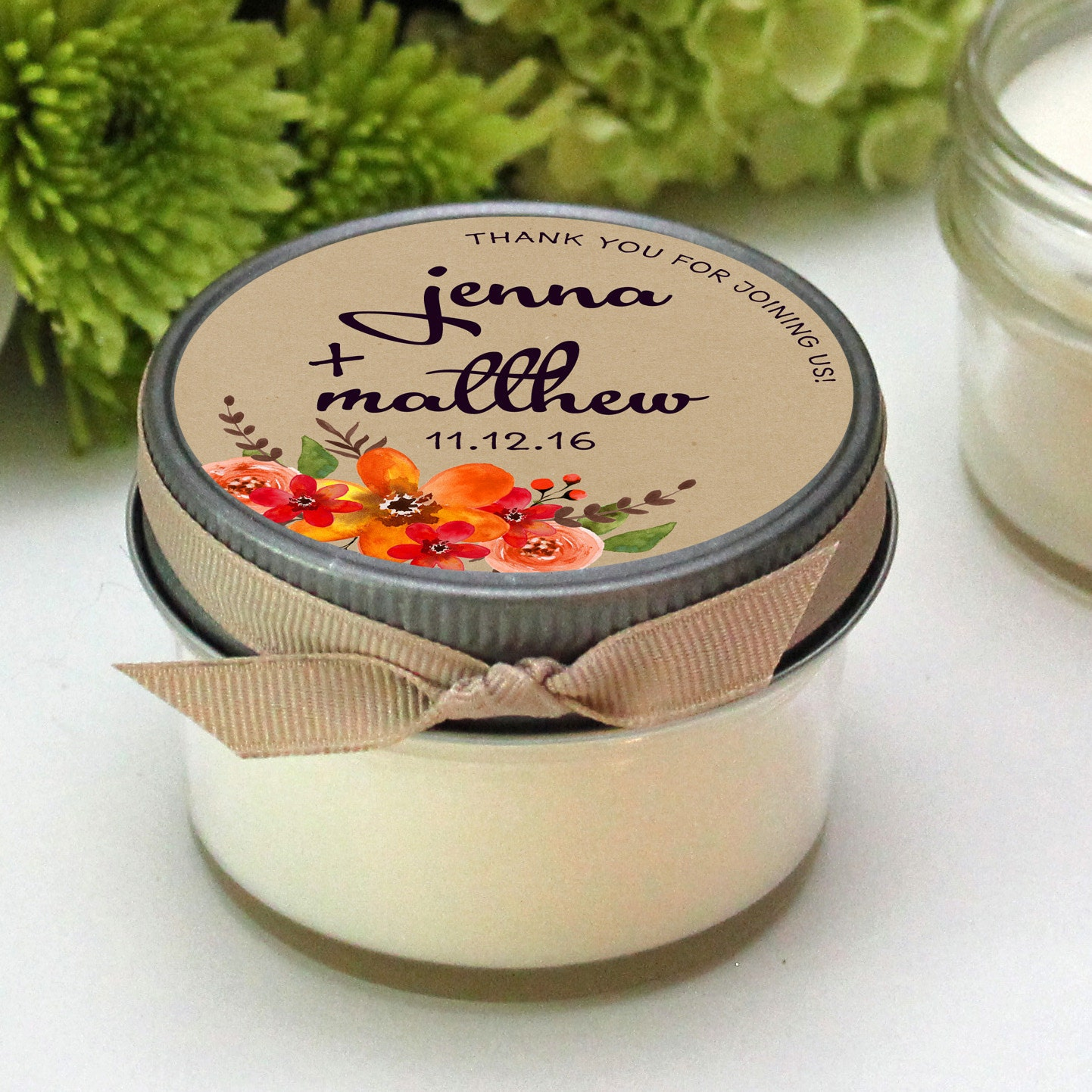 Wedding Gift Candles: Wedding Favor Candles Fall Bouquet Label Design Fall