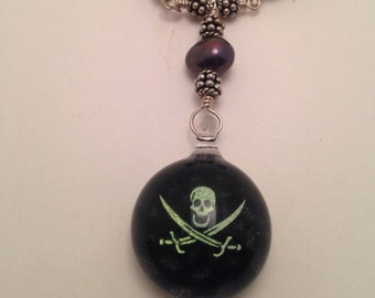 Sterling Silver Pirate Necklace with Black Pearls