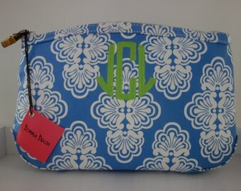 monogrammed periwinkle shell cosmetic bag