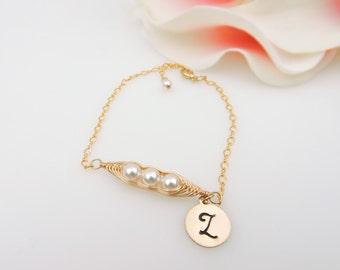 FREE US Ship Gold Filled Personalized Pea Pod Bracelet Gold Swarovski Pearl 3 Pea's In A Pod Bracelet Bridesmaid Bracelet Bridesmaid Gift
