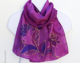 Hand painted silk scarf, Fuchsia pink silk scarf, Gold purple dahlias, Artist painted scarf, Purple gold floral scarf, Silk gift for her
