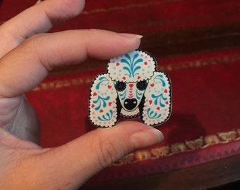 Day of the dead poodle brooch pin badge SAMPLE SALE *damage*
