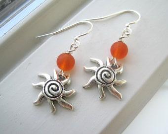 Sun Earrings - Sun Jewelry - Orange Earrings - Orange Jewelry - Summer Earrings - Summer Jewelry - Charm Earrings - Orange Glass Jewelry