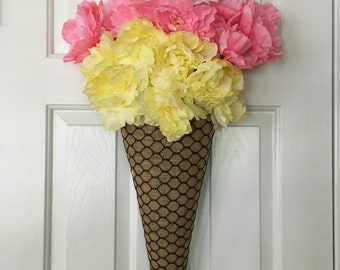 Ice-Cream Cone Wreath; Summer Wreath; Ice-Cream Door Hanger Burlap; Summer Decoration