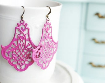 50% OFF! Earrings, Pink patina brass filigree Earrings. Adelaide Collection 1