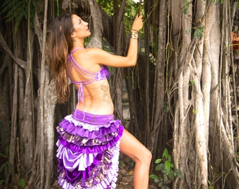 Gypsy Mermaid Complete Set / purple / bustle skirt / sequin bikini / matching parasol / steam punk / victorian / festival / burning man