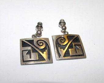 Vintage Native American HOPI Sterling Silver Pierced Dangle Statement Earrings Tribal Design