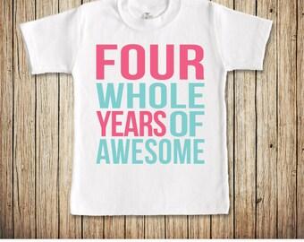 4th Birthday Shirt Girl, Fourth Birthday Shirt, Birthday Shirt 4, Girls 4th Birthday Shirt, Four Birthday Shirt, Fourth Birthday Outfit