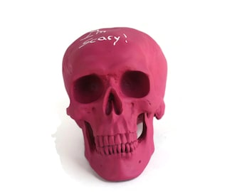 Pink Raspberry Chalkboard Skull Head - Faux Taxidermy - Human Skull - Skull Decor - Skull Oddities - Anatomy - Skeleton - Painted Skull