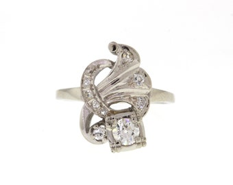 Vintage Diamond Ring, White Gold Old European Cut Diamond Right Hand Ring, 1950s Ring, Engagement Ring