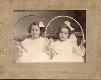 Antique Photo of Two Darling Sisters Holding Toys?