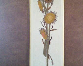 Vintage sunflower needlepoint on linen circa 1970.
