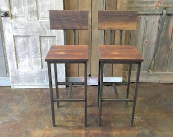 Reclaimed Wood Bar Stools, Industrial Stool, Reclaimed Barn Wood Stool With Hand Welded Steel Base and Eco-Friendly Finish - Set of 2