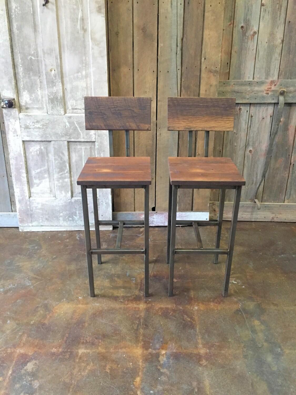 Reclaimed Wood Bar Stools ~ Reclaimed wood bar stools industrial stool barn
