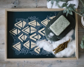 Serving Tray - Hand Screen Printed with Decorative Geometric Triangle Pattern - Large Size in Navy and White on Birch Wood