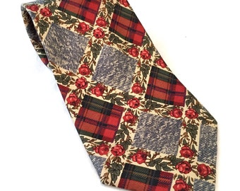Plaid Patchwork and Flowers Tie, Plaid Christmas Tie, Floral Tie, Red, Green, Navy Plaid Tie, Patch Necktie, Striped Holiday J. T. Beckett