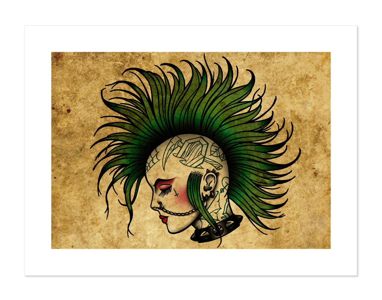 Iron On Patch Girly Skull Derby Rockabilly Punk Tattoo | eBay |Punk Girl Tattoo Girly