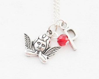 Tiny Angel Necklace, Silver Cherub Necklace, Angel Necklace, Angel Charm Necklace, Angel Jewelry, Bereavement Gift, Memorial Necklace,
