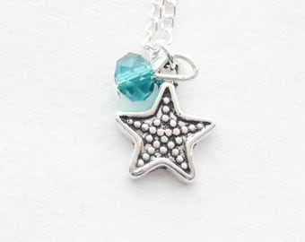 Tiny Starfish Necklace Silver Starfish Jewelry Nautical Necklace Star fish Birthstone Necklace Silver Star Necklace Bridesmaid Necklace Gift