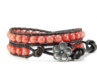 Leather Wrap Bracelet Coral Mountain Jade Gemstones Beaded Jewelry