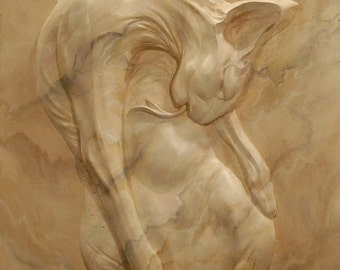 Bas relief Sphynx cat decorated as marble