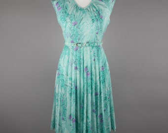 1970s aqua and lilac pleat skirt dress