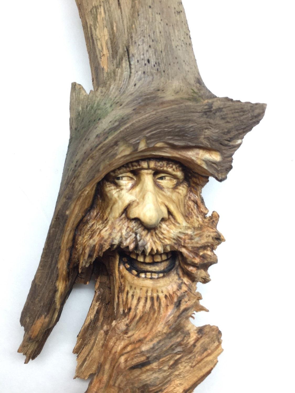Wood spirit carving beard old man sailor hand carved