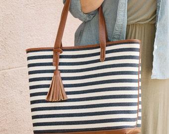 Monogrammed Striped Tassel Tote Bag   Handbag