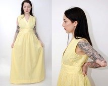 vintage BALL GOWN (M) pastel yellow 50s Wrap empire waist maxi full length floor dress medium large midcentury mid century brocade jacquard