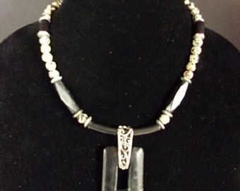 Black onyx and dalmatian jasper beads
