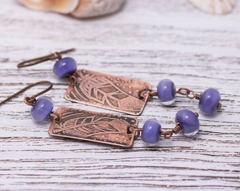 Lavender Earrings, Etched Copper and Lampwork Earrings, Boho Earrings, Feathers, Ethnics, Earrings with Lampwork Beads