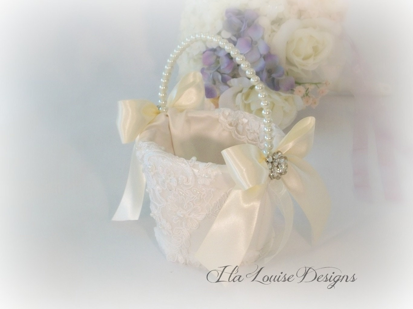 How To Make A Lace Flower Girl Basket : Flower girl basket ivory lace by ilalouisedesigns