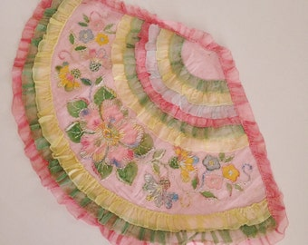 Delightful 1920s Embroidered Large Fan Shaped Boudoir Pillow Top , Bucilla ?, Pink, Yellow, Green, Lovely