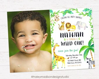 Jungle Invitation, Wild One, Party Animals Birthday Party Invitation DIGITAL FILE