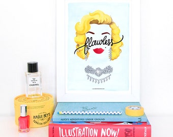 Flawless Marilyn Monroe Poster, Calligraphy Print, Minimalist Illustration, Music Art Print, Typography Print, Queen B Gift for Her