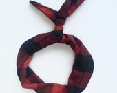 Byrd Band- Bendable Wire Headband for Adults, Kids, Babies- Red Buffalo Plaid Flannel Print