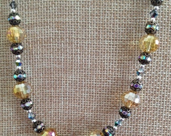Light Gold Crystal, Antiqued Brass, Sterling Silver Necklace (N17)