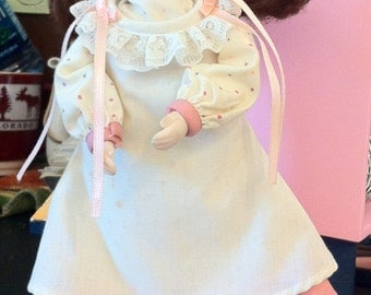 Pretty Prairie Doll,Eight Inch Bisque Doll, Cloth Body, Removable Clothing