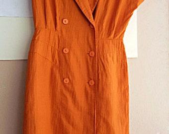"80s Tangerine Cotton Dress - Double Breasted Dress - 32"" waist - Japanese Vintage - M"