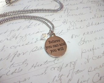 Believe you can and you will citation stainless steel necklace with crystal