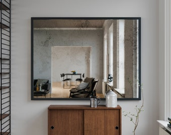 """Framed Wall Mirror. Custom 18 x 24"""" Mirror. Mirror made with Mirror Coop antiqued mirror. Frameless Modern mirror with black iron frame."""
