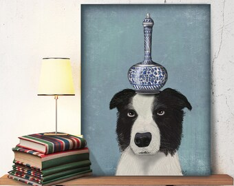 Border Collie art print - Border Collie and Blue Vase - Border Collie gifts Border Collie picture Border Collie painting Border Collie print
