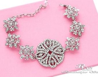 Art deco bridal bracelet, crystal bracelet, vintage style wedding bracelet, rhinestone bracelet, brooch bracelet, wedding jewelry  -  B0124