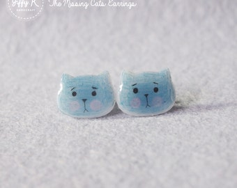 Hand drawn shrink plastic jewelry - BLUEY The Missing Cats Stud Earrings {Ready to Dispatch}