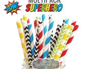 SUPERHERO Paper Straws, Multipack, Chevron, Dots, Vintage, 25 Straws, Superman, Spiderman, Captain America, Hulk, Batman, Lego, Party