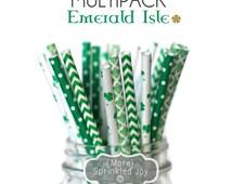 EMERALD ISLE Green Multipack, Chevron, Dots, Clover, Shamrock, Kelly Green, Party, Wedding, Birthday, Vintage, 25 Straws, St Patricks Day