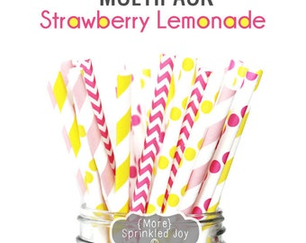 Pink, Yellow, Strawberry Lemonade, Summer, Party, Paper Straws, Multipack, Yellow, Light Pink, Hot Pink, Vintage, 25 Straws, 5 Designs
