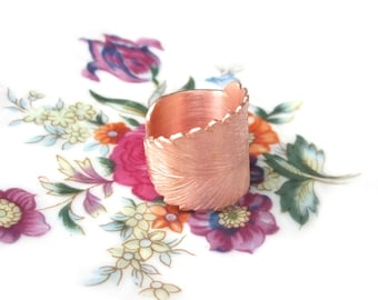 Copper ring sheet open adjustable size 57, handmade copper ring sheet leaves US size 8.0