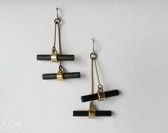 Rare Vintage Aarikka Wood Bead Hook Earrings, Black, 1960s (F423)
