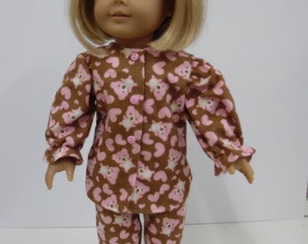 American Girl Flannel Bears and Hearts Pajamas
